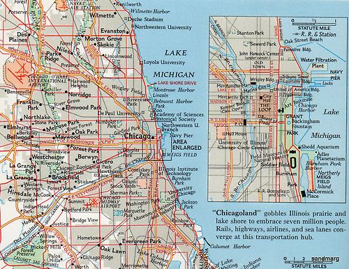 1967 Map Of Chicago Chicago Map Chicago Map