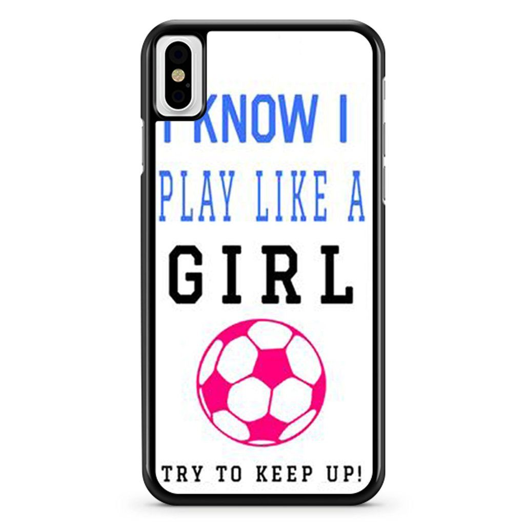 Cute funny soccer girl pink futbol ball quote iphone x