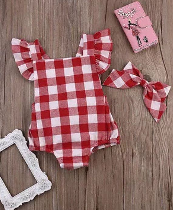 52303e5663cc Red   White Gingham Romper Baby Toddler Infant by SissyLeighInc ...