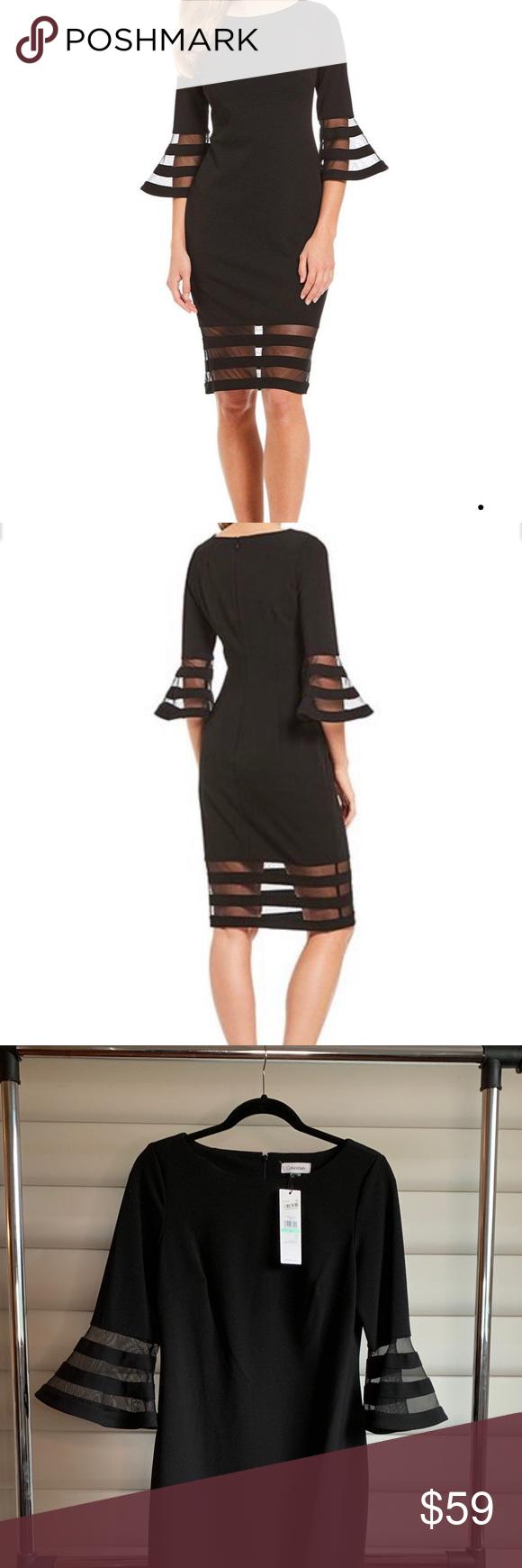 42+ Calvin klein illusion bell sleeve dress inspirations