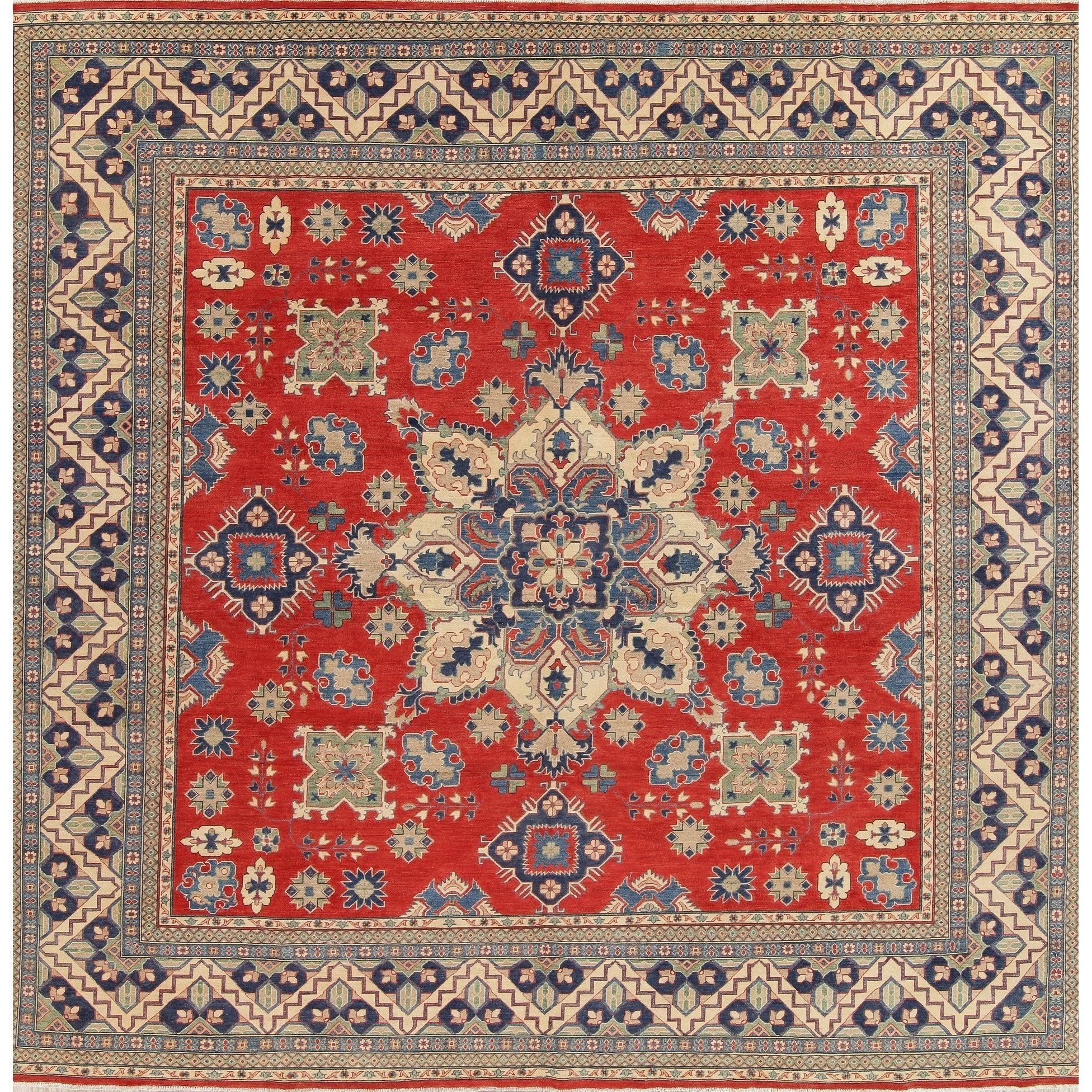 Traditional Kazak Pakistan Hand Knotted Square Oriental Wool Rug 12 6 X 13 0 Square 12 6 X 13 0 Square Red Beige Area Rugs Blue Area Rugs Colorful Rugs
