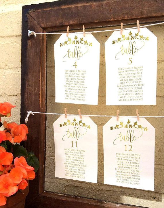 Gold Wedding Seating Chart Template 6x4 and 5x7 Printable | T1718