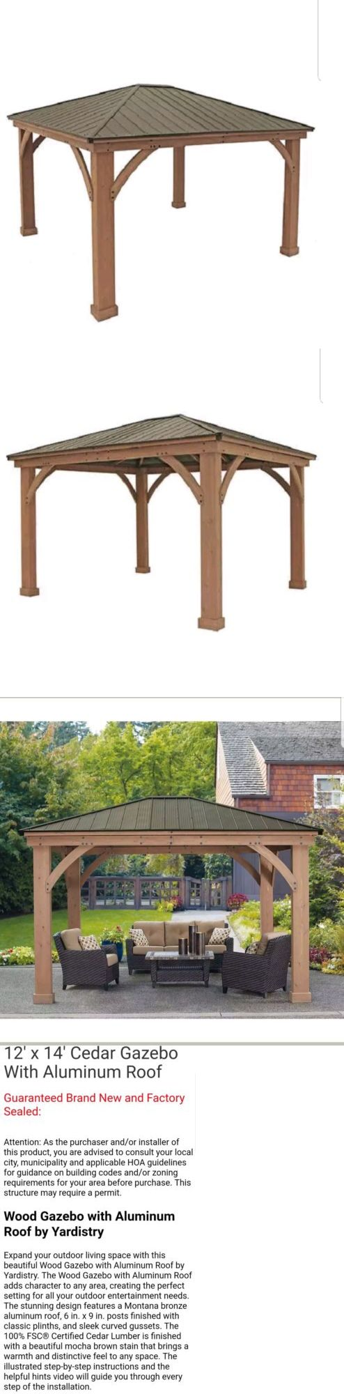 Gazebos 180995 Yardistry 12 X 14 Cedar Gazebo No Tax With Aluminum Roof Buy It Now Only 1650 On Ebay Aluminum Roof Gazebo Gazebo Sale