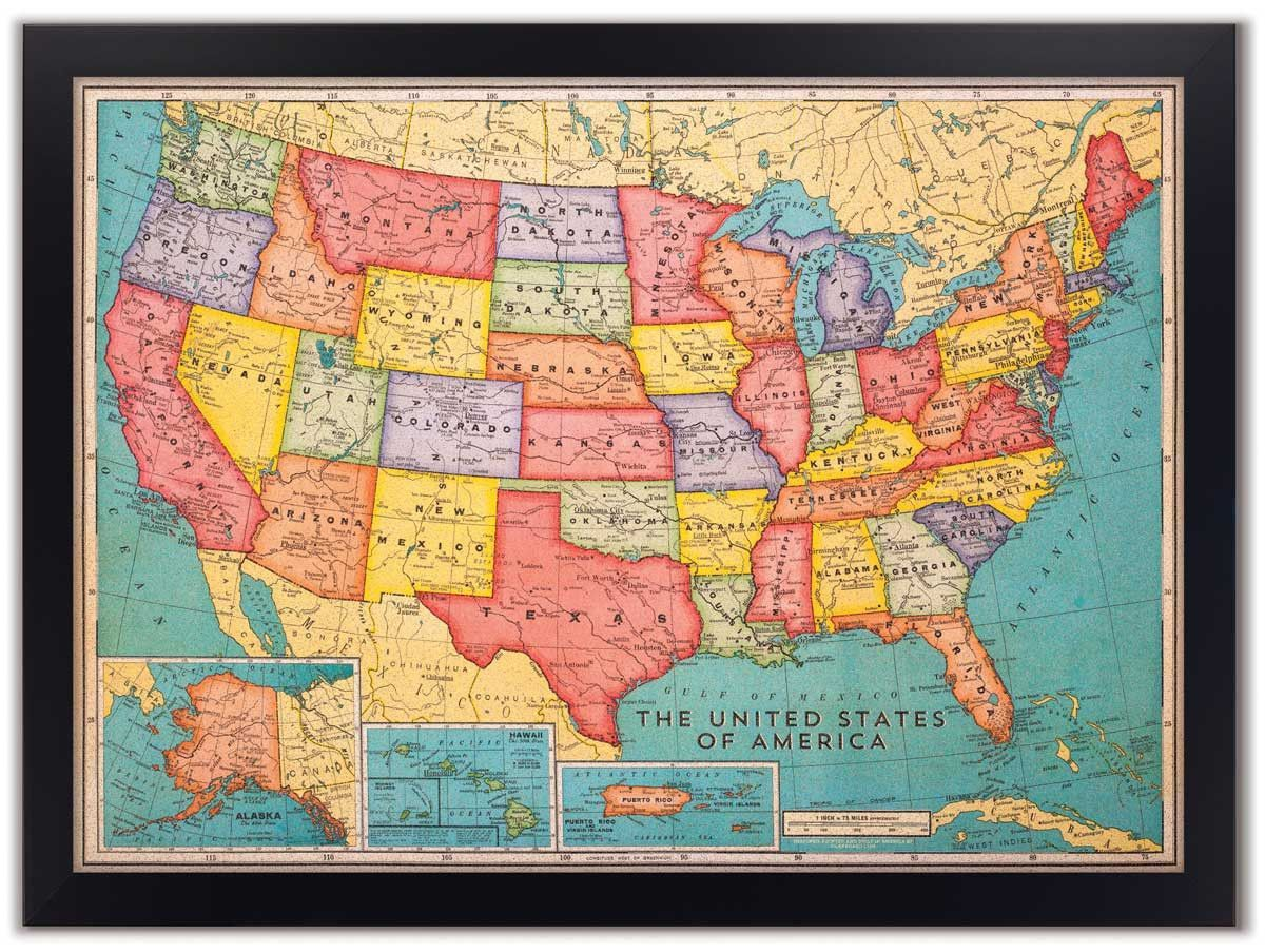 Cork board usa map cork cork boards and travel maps 46 x 34 cork board us map us travel map with pins gumiabroncs Image collections