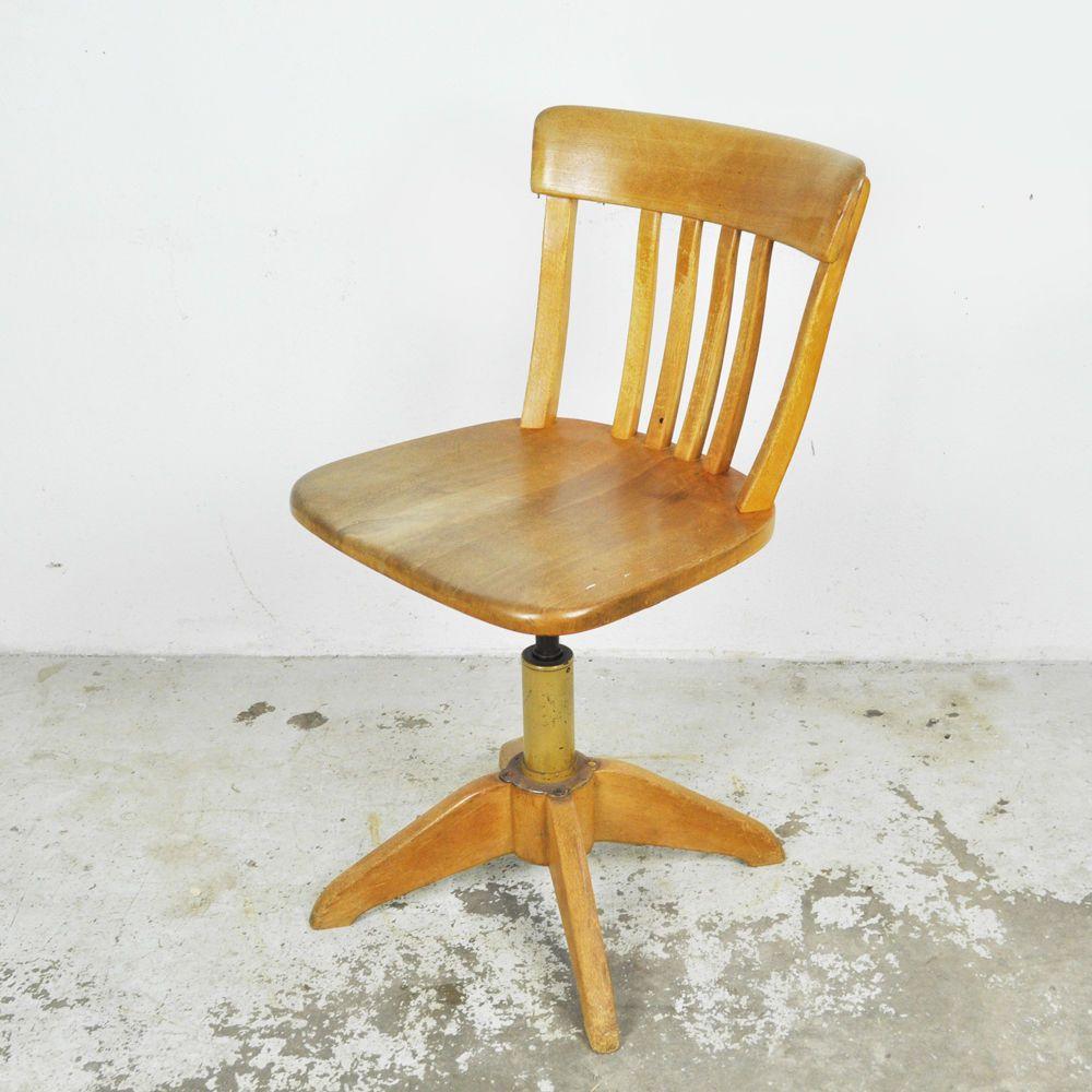 Vintage Drehstuhl Stoll Alter Schreibtisch Stuhl Holz