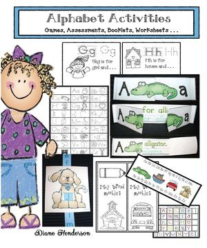 Alphabet activities: Whopping 121-page Alphabet Activities packet chock full of fun games, assessments, booklets etc.