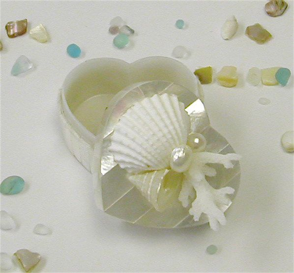 Mother of Pearl Heart Box with Shells, Coral and Pearls.