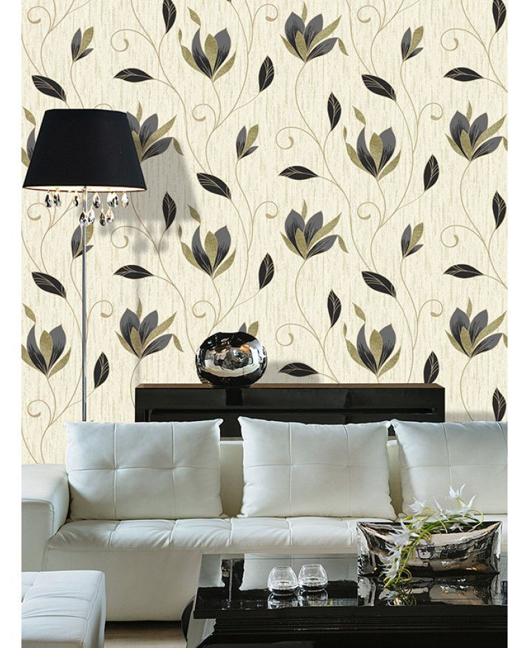 This Synergy Floral Glitter Wallpaper In Black Gold And Cream Has Matte Metallic And Glitter Elements To Glitter Wallpaper Floral Wallpaper Sparkle Wallpaper
