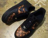 separation shoes 558b6 21f80 Nike Louis Vuitton LV Black Air Force 1 One Low Luxury Designer Custom  Men s White Sneaker