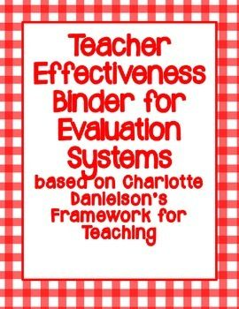 Charlotte Danielson Teacher Evaluation Binder Red Theme  Teacher