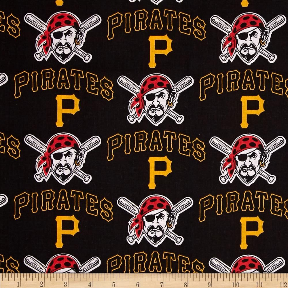 MLB Cotton Broadcloth Pittsburgh Pirates Black/Yellow