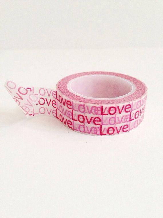 Woorden liefde Washi Tape rood roze van PrettyTape op Etsy