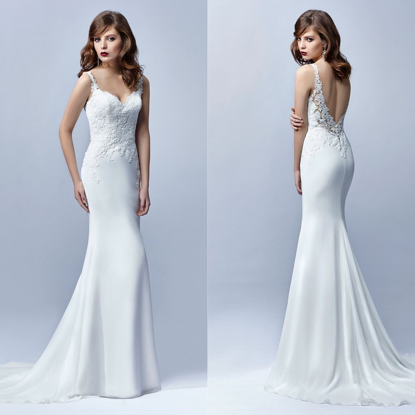 Fitted fishtail wedding dress with lace and chiffon. Low