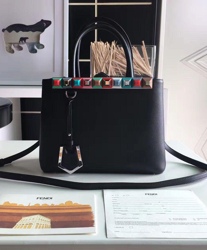 9cf60330888f Fendi Petite 2Jours Tote Bag With Multicolored Studs 8BH253 Black ...