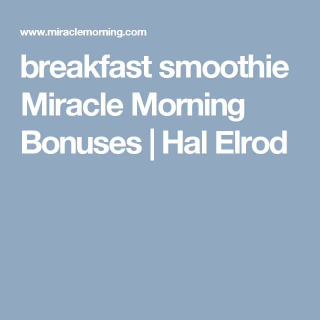 miracle morning diet meal plans