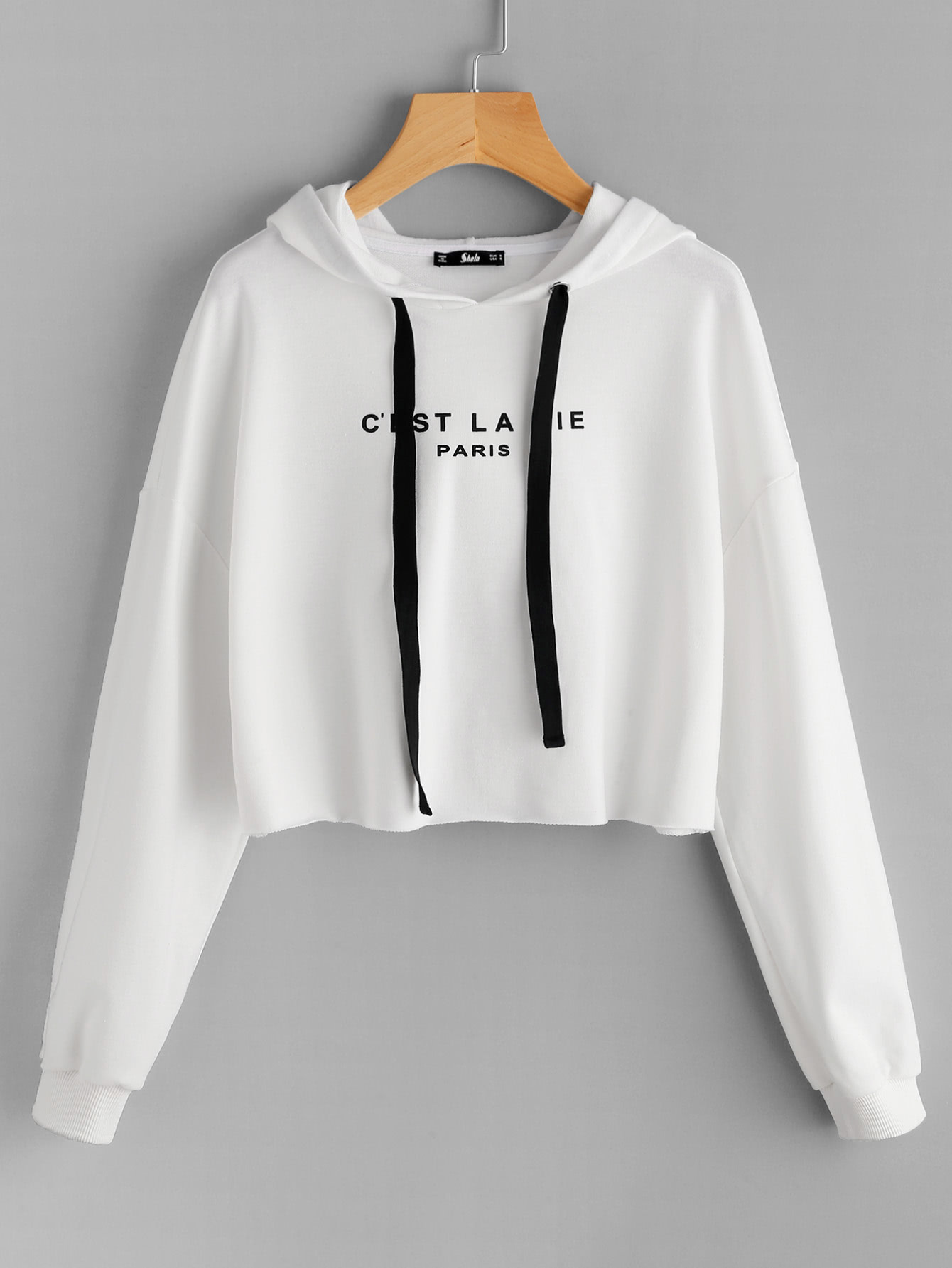 5a34a1fa98 Shop Drop Shoulder Raw Hem Crop Hoodie online. SheIn offers Drop Shoulder  Raw Hem Crop Hoodie & more to fit your fashionable needs.