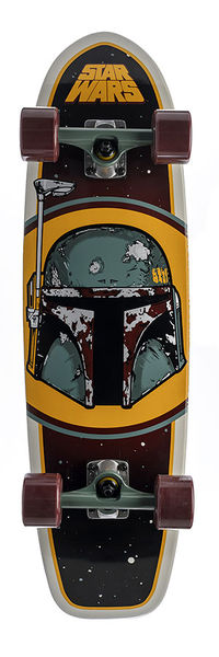 """STAR WARS SKATEBOARDS: 8.5IN X 31IN STAR WARS BOBA FETT"" I'd love to learn to skateboard."