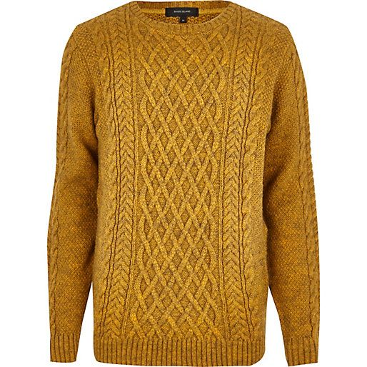 Yellow Cable Knit Jumper Knitwear Men Cable Knit Jumper Knit Men