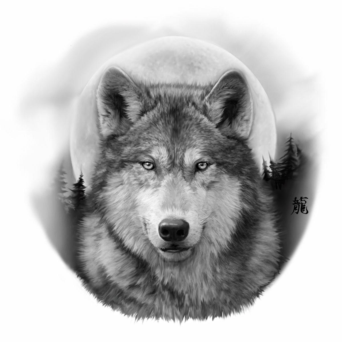 Blinddog Wolf And Moon Tattoo Wolf Tattoos Grey Wolf Tattoo
