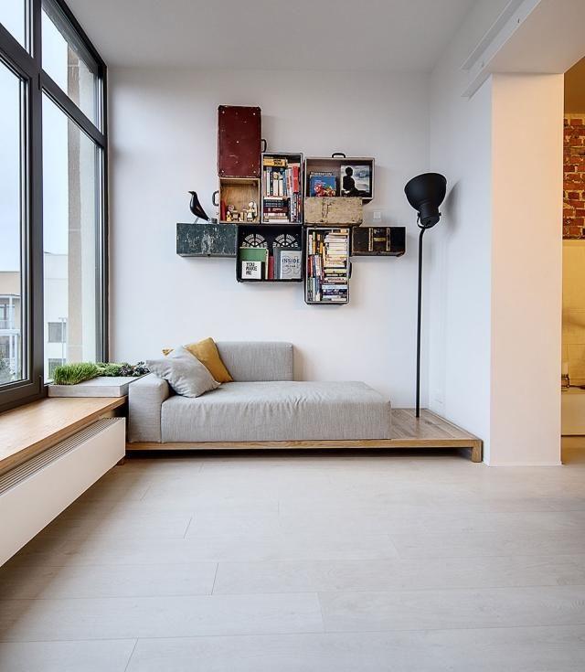 Leseecke Einrichten Schlafzimmer: Leseecke-gestaltung-wandregale-alte-koffer