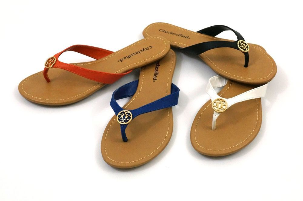 4183b7f4672 brand new SODA lady THONG color flip flop shoes with gold color medallian   cityclassified  FlipFlops