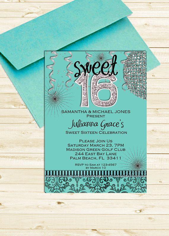 Sweet 16 Invitation Sweet Sixteen Birthday Invite Printable