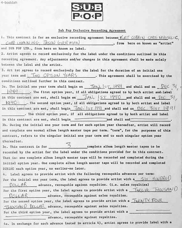 See Nirvanau0027s Original Record Contract With Sub Pop Originals - artist agreement contract