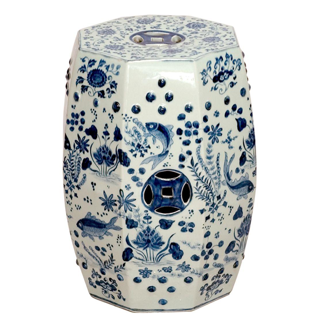 Octagon Blue and White Koi Fish Ceramic Garden Stool Seat