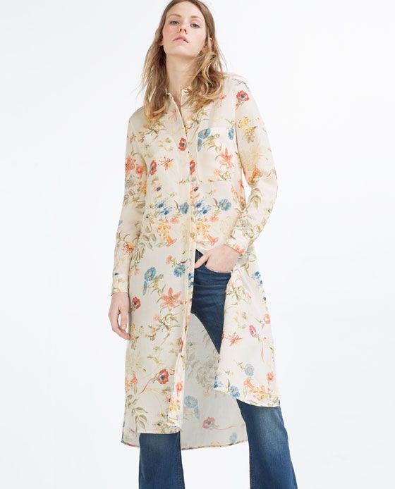 f9e502dc1a6 Image 2 of LONG ASYMMETRIC SHIRT from Zara | Dress! | Floral shirt ...