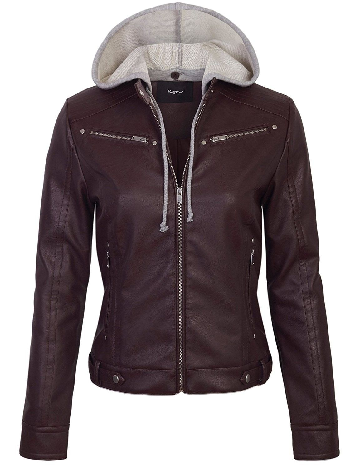 77c1109ddaf46 Womens Faux PU Leather Zip Up Casual Moto Jacket With Hoodie -  576_maroon_burgundy - C5186TN0Q2E -