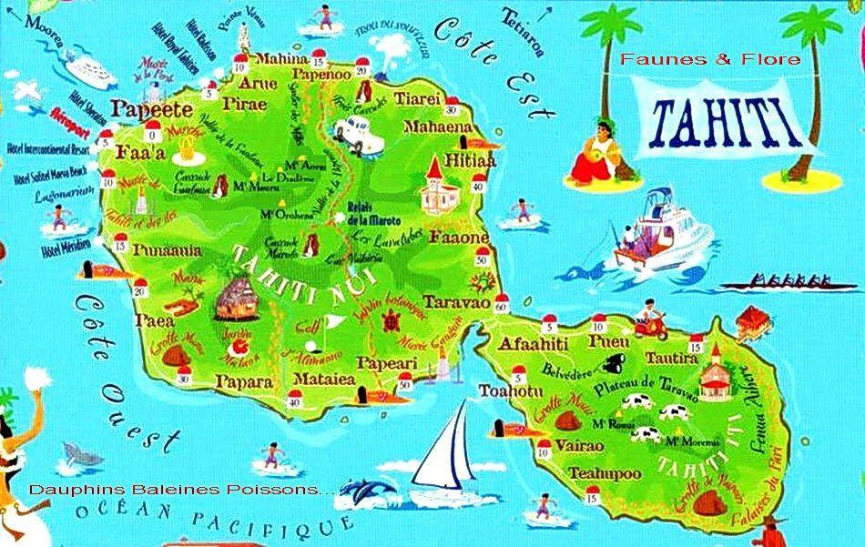 Tahiti Carte Touristique Carte Touristique Voyage Tahiti