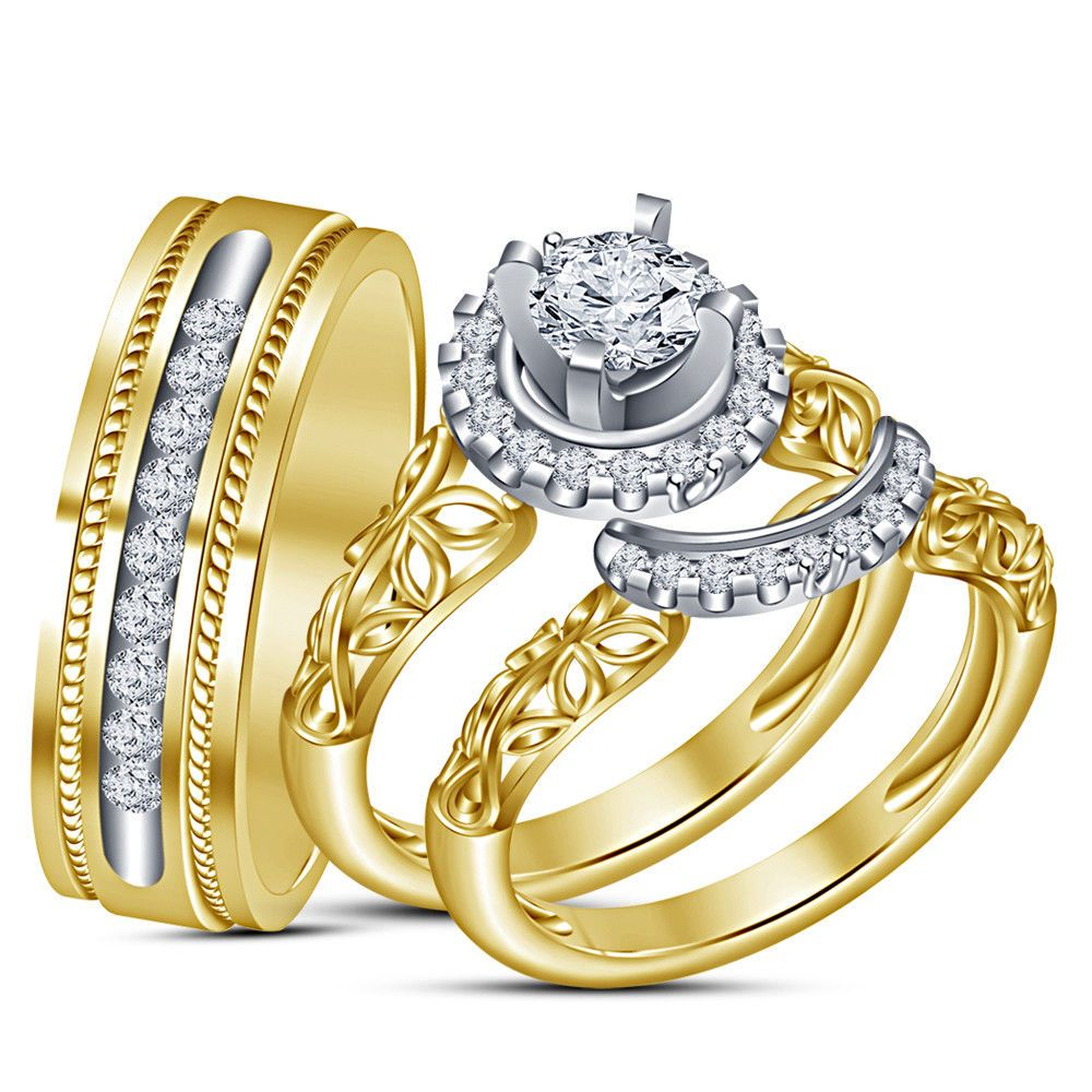 14k yellow gold over his hers 210 ct diamond bridal