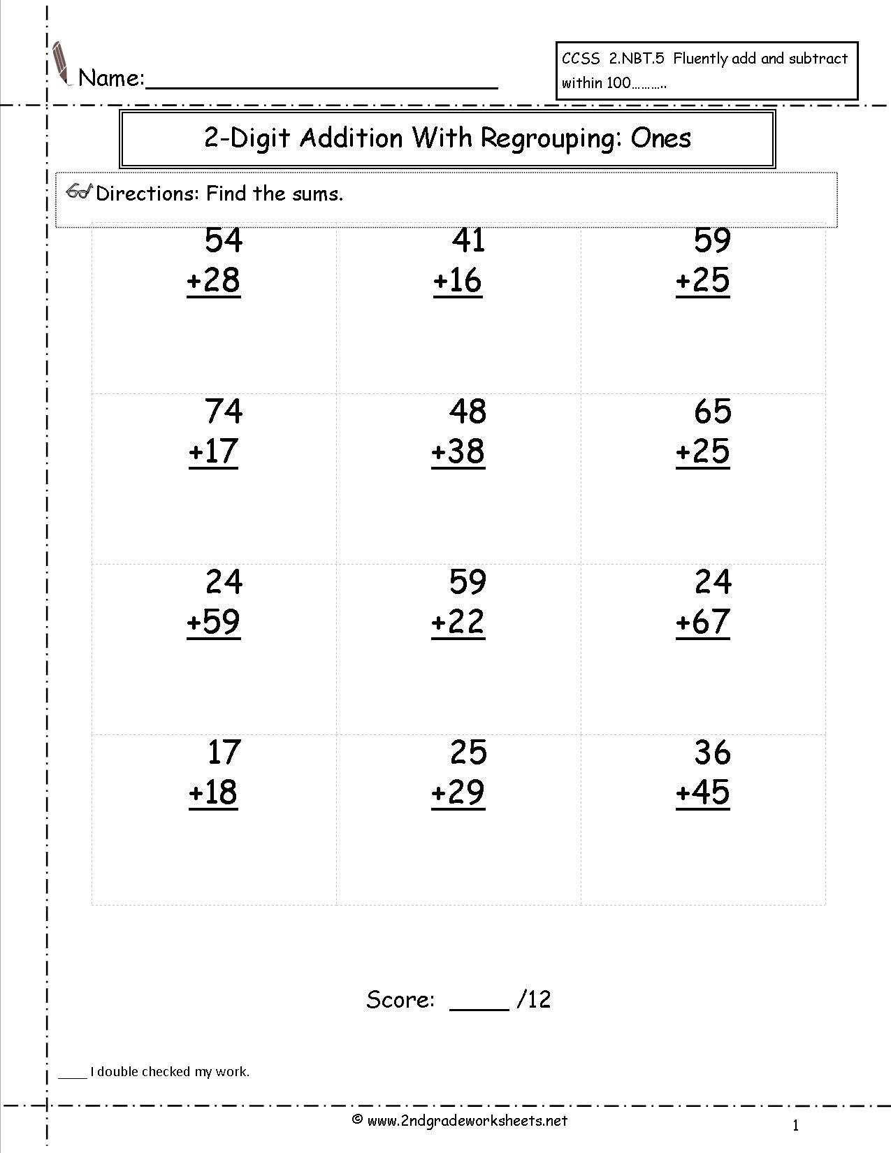 two digit addition with regrouping worksheet | satta | Pinterest ...