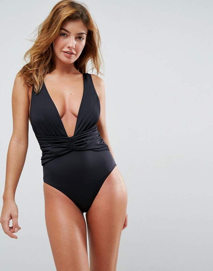 27d97e1fee310 DESIGN recycled plunge ruched front swimsuit | Products | Swimsuits ...