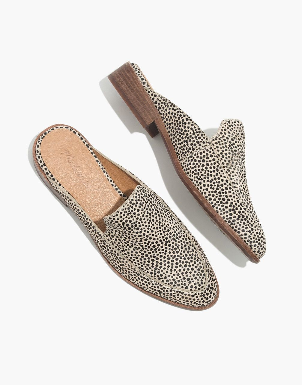 1416450f94fb The Frances Loafer Mule in Spotted Calf Hair in dried flax multi image 1