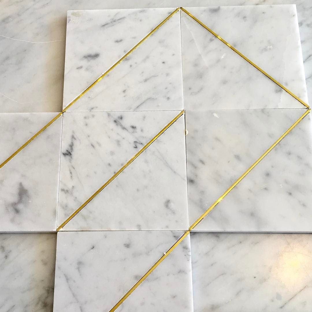 brass inlay marble tiles