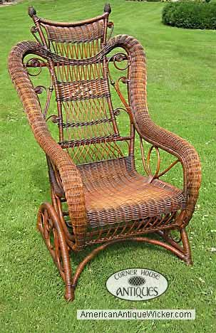 Antique Wicker Rocker With Images