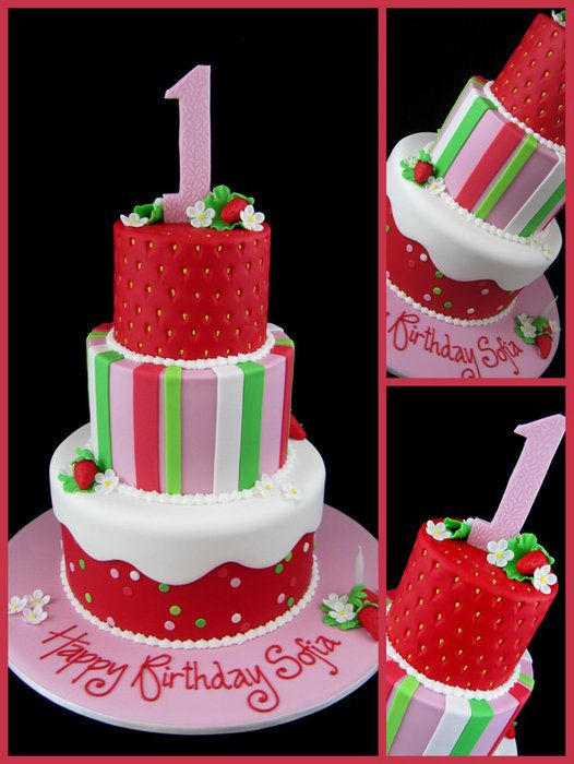Astounding Strawberry Shortcake 1St Birthday Cake By Inspiredbymichelle With Birthday Cards Printable Opercafe Filternl
