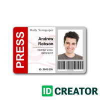 Pin By Idcreator On Press Pass Id Card Template Id Badge