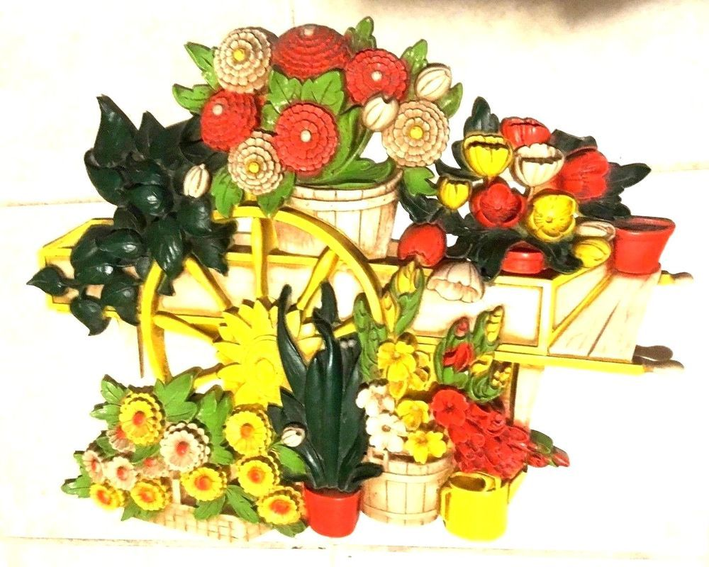 Vintage SYROCO Floral Molded Plastic Picture / Wall Hanging Plaque ...