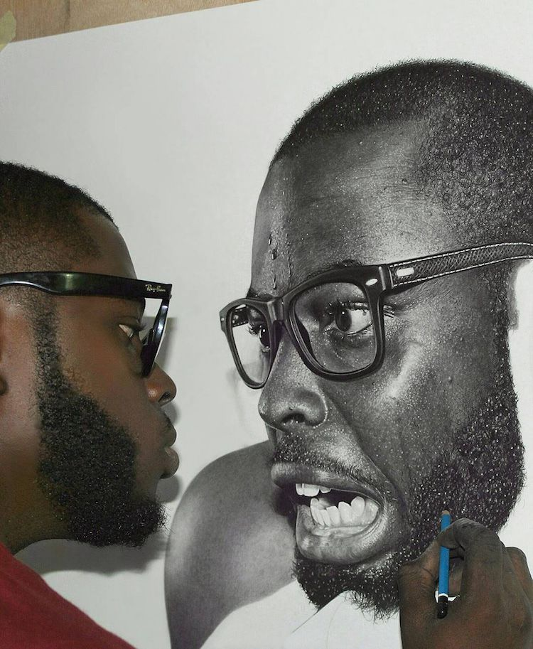 Nigerian artist spends up to 200 hours creating hyperrealistic pencil portraits