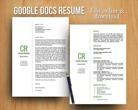 Green DIY Google Docs printable resume and cover by GTemplates - resume google docs