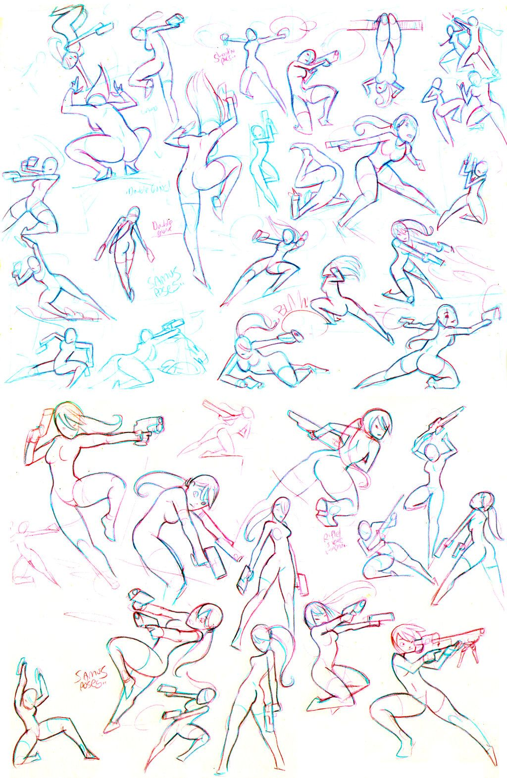 dynamic poses | pose references for doodles | Action poses, Drawing