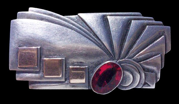 RAMA  ----  Modernist Brooch  ----  Silver Gold Synthetic Sapphire  ---  Uruguay, c. 1930