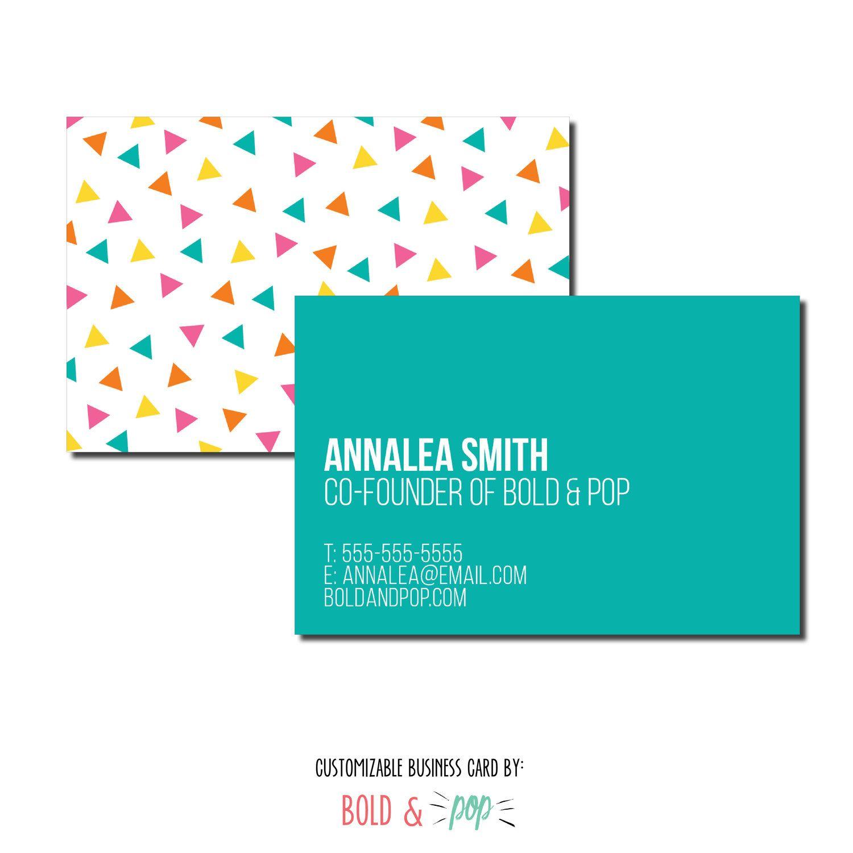 Bold Pop Thepopshop Confetti Business Card Template Business Card Template Branding Website Design Squarespace Website Design