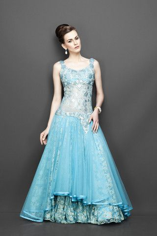 Aqua blue color Indo Western Gown | Aqua blue, Blue colors and Haute ...