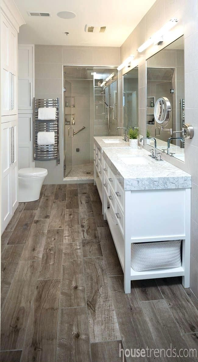 Tile Beige Walls Dark Floors And Large White Vanity Perfect Sleek Look Bathroom Remodel Master Modern Master Bathroom Small Master Bathroom