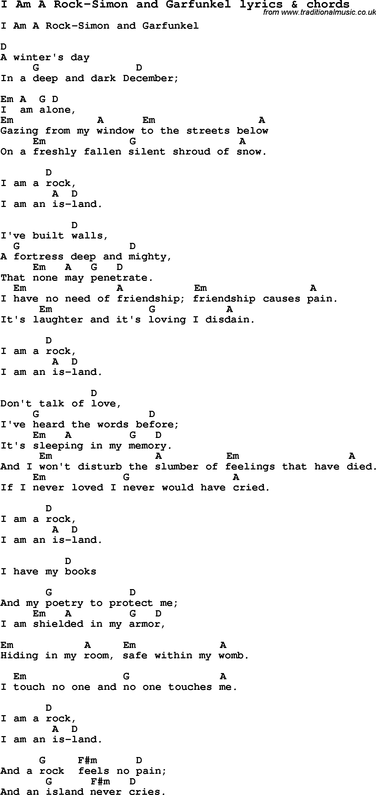 Love Song Lyrics For I Am A Rock Simon And Garfunkel With Chords