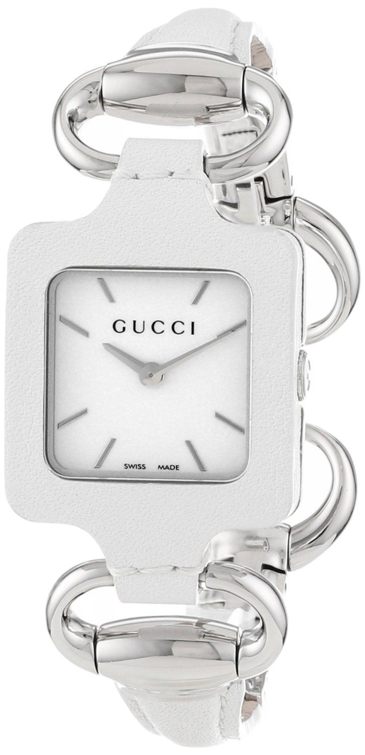 545af1b9b60 Gucci Women s YA130404 Gucci 1921 White Leather Bangle and Case Watch
