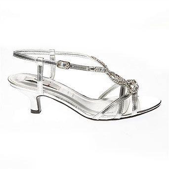 Silver Fashion Wide Fit Diamante Tbar Sandal